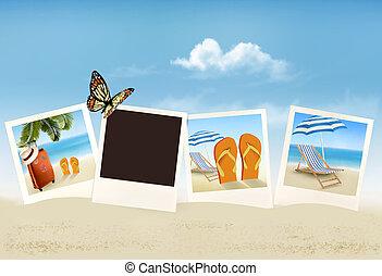 férias, fotografias, ligado, um, praia., vector.