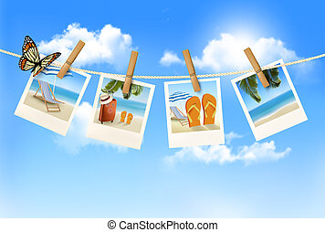 férias, fotografias, pendurar, um, rope., vector.