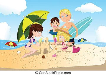 férias praia, família