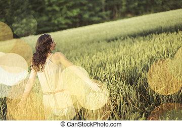 férias, quadro, de, a, mulher, entre, a, colheita milho