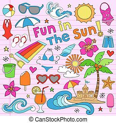 férias verão, caderno, doodles