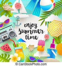 férias verão, e, feriados, ilustração