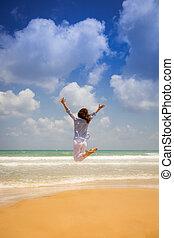 férias verão, e, liberdade, conceito
