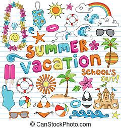 férias verão, havaiano, doodles