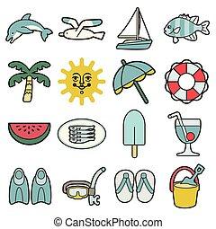 férias verão, mar, ícones