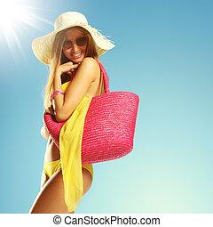 férias verão, mulher