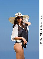 férias verão, mulher, ligado, praia