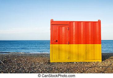 férias verão, -, praia, cabana
