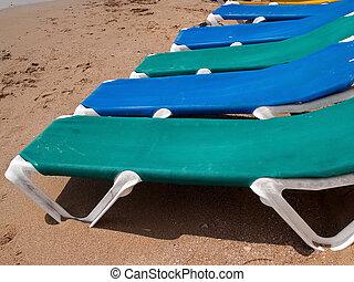 férias verão, praia, linha, de, sol, camas