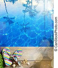 férias verão, tropicais, ar, praia, concept--flipflops