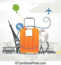 férias, viajar, composição, com, laranja, saco