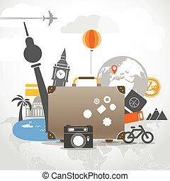 férias, viajar, composição, conceito, com, antigas, saco