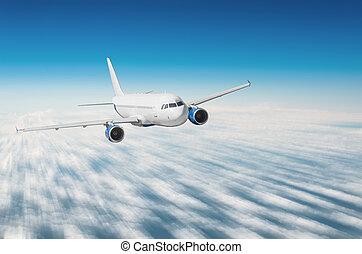 férias, voando, clouds., avião, viajando, acima, viagem