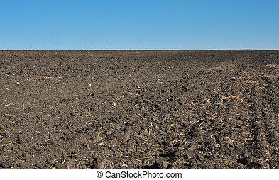 fértil, arado, solo, de, um, campo agrícola