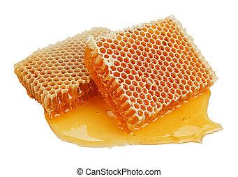 fésű, friss, méz