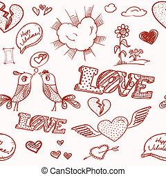 février, éléments, collection., petite amie, 14e, jour, heureux