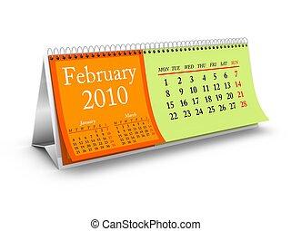 février, 2010, calendrier, bureau
