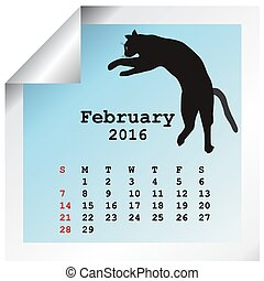 février, 2016, calendrier