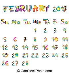février, 2017, calendrier