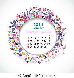 février, calendrier, 2014