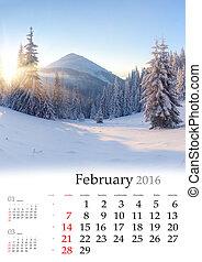 février, calendrier,  2016