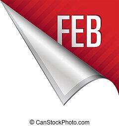 février, coin, onglet