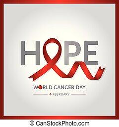 février, concept, cancer, illustration, vecteur, conception, 4, mondiale, jour