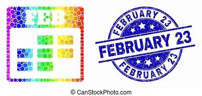 février, détresse, 23, timbre, spectre, vecteur, calendrier, pixel, icône