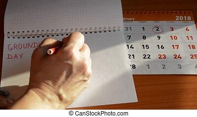 février, femme, cahier, écriture, calendrier, 2, marmotte amérique, jour