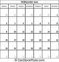 février, planificateur, fond, 2014, calendrier, transparent