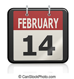 février, valentin,  s, calendrier,  14, jour