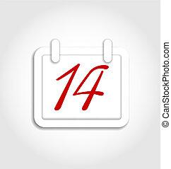 février, valentines, 14e, calendrier, jour, icône