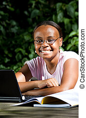 fêmea americana africana, estudante