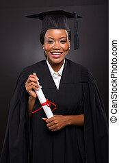 fêmea americana africana, estudante, com, graduação, certificado
