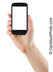 fêmea passa, segurando telefone móvel, com, isolado, tela, e, em branco, negócio, cartão crédito, isolado, branco, fundo