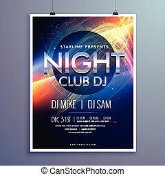 fête, élégant, club, aviateur, musique, gabarit, nuit, conception