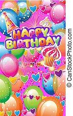 fête, éléments, carte, anniversaire