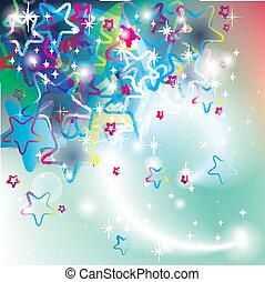 fête, étoiles, carte