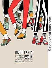 fête, événement, coloré, danse, festival, affiche, danse, illustration, main, vecteur, legs., nuit, dessiné, placard.