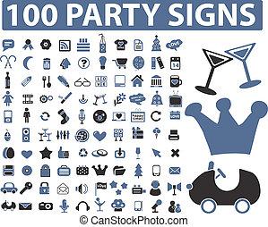 fête, 100, signes