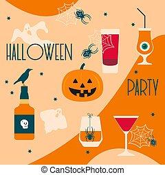 fête, 2020, cric, vecteur, o'lantern, fantômes, halloween
