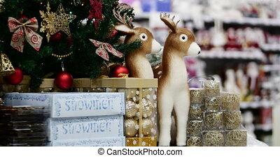 fête, 4k., arbre, decoration., lights., décoration, reindeers., arcs, astérisques, année, nouveau, balle, noël