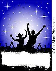 fête, affiche, étoiles, disco