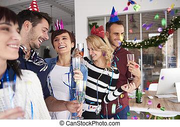 fête, amis, bureau