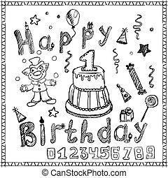 fête, anniversaire, éléments