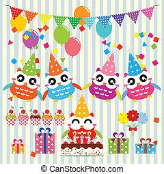fête, anniversaire, éléments, hiboux