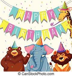 fête, anniversaire, animal, gabarit