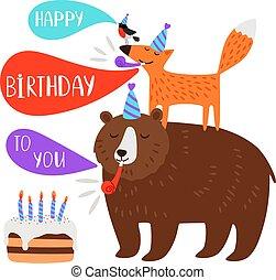fête, anniversaire, animaux, enfants, carte