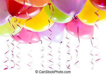 fête, anniversaire, ballons, banderoles, célébration