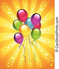 fête, anniversaire, ballons